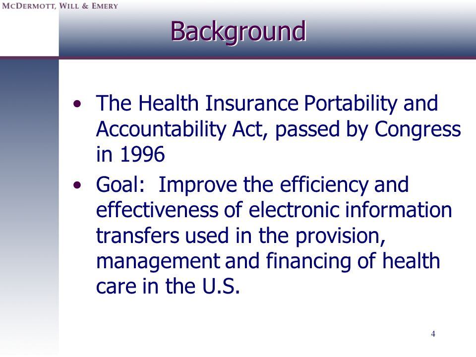 Background The Health Insurance Portability and Accountability Act, passed by Congress in 1996.