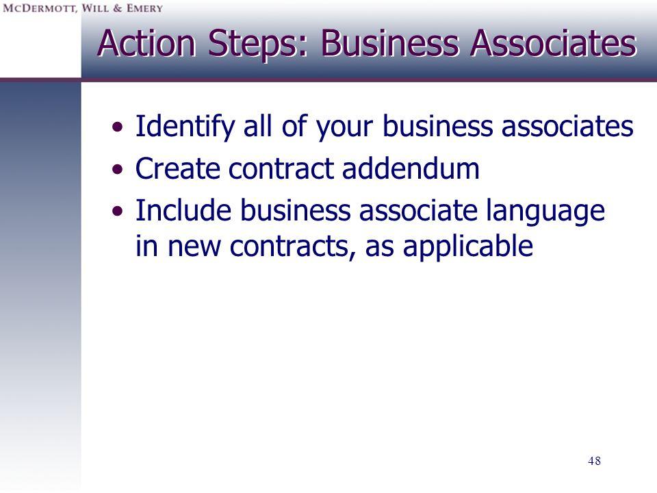 Action Steps: Business Associates