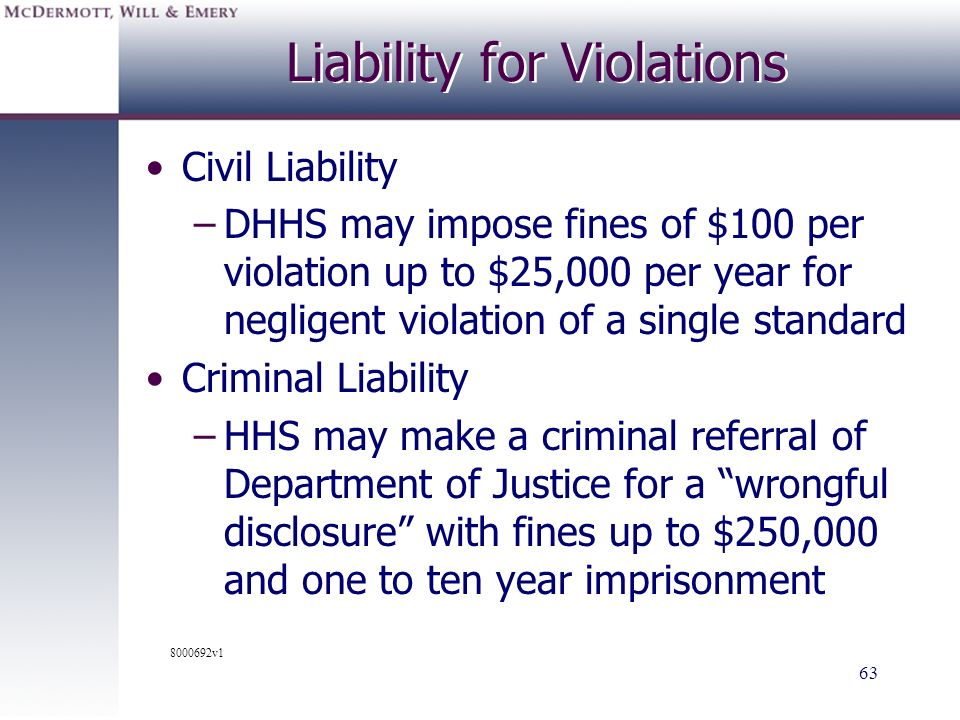 Liability for Violations
