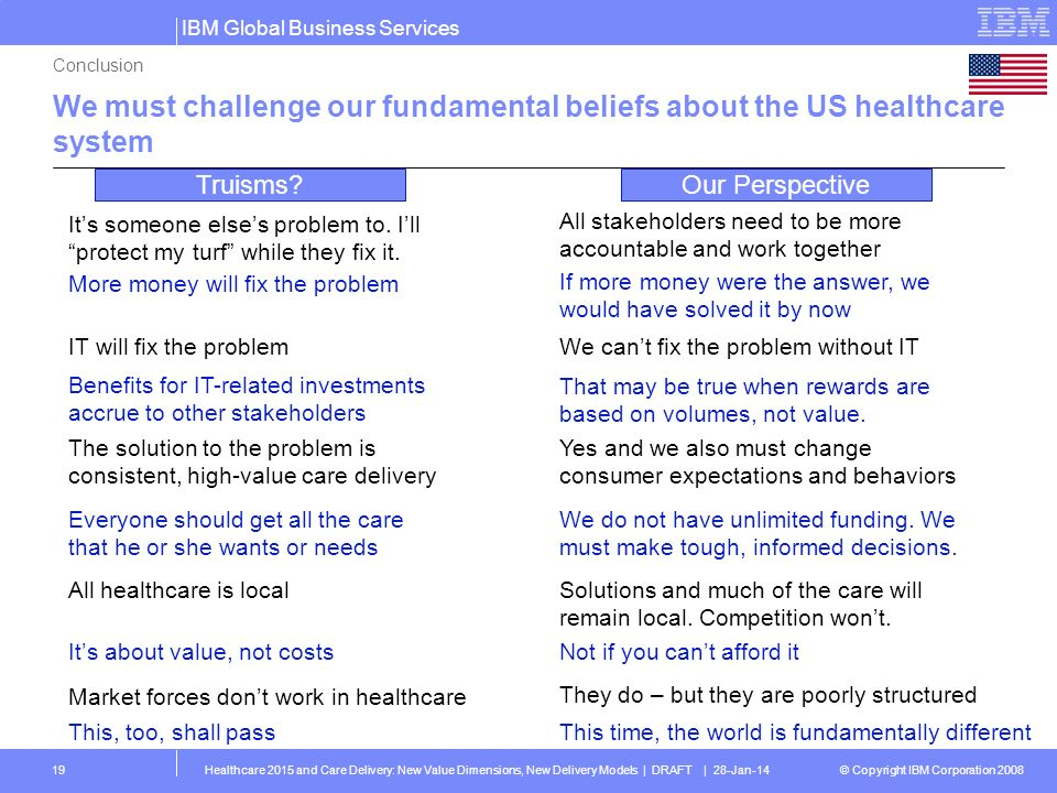 Conclusion We must challenge our fundamental beliefs about the US healthcare system. Truisms Our Perspective.