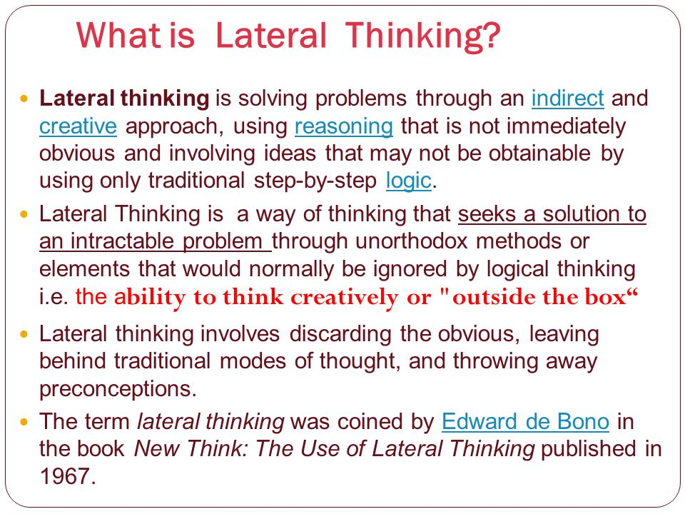 Lateral Thinking Problem Solving