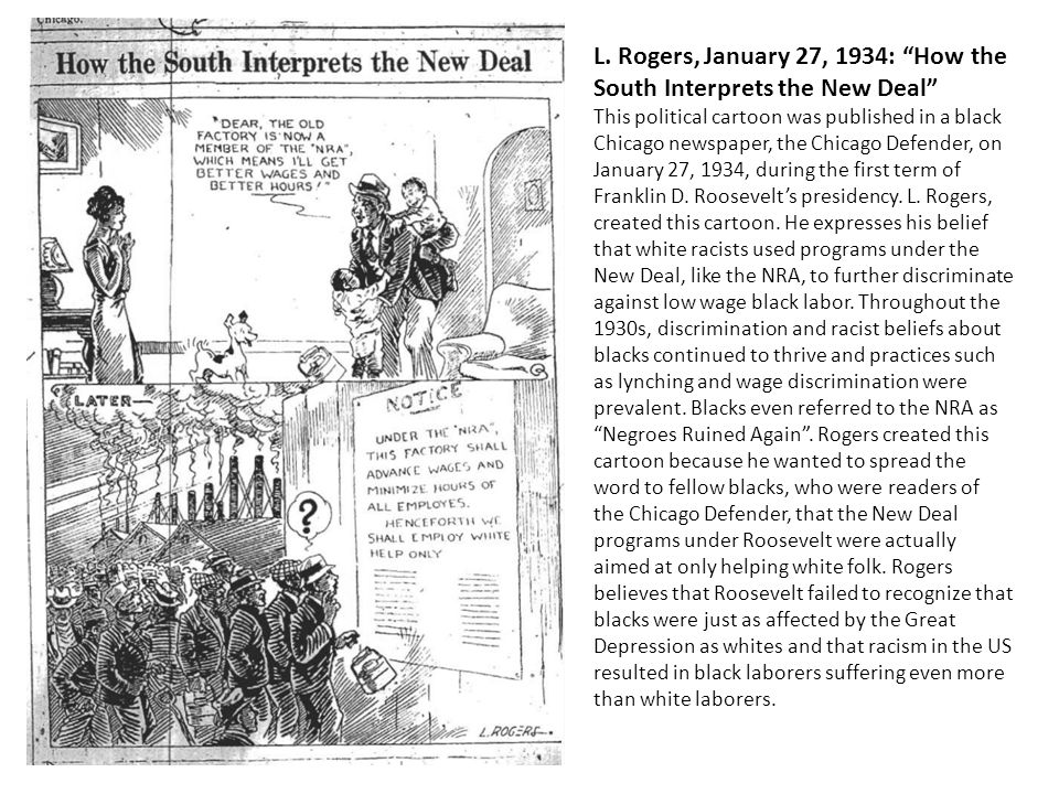 L. Rogers, January 27, 1934: How the South Interprets the New Deal