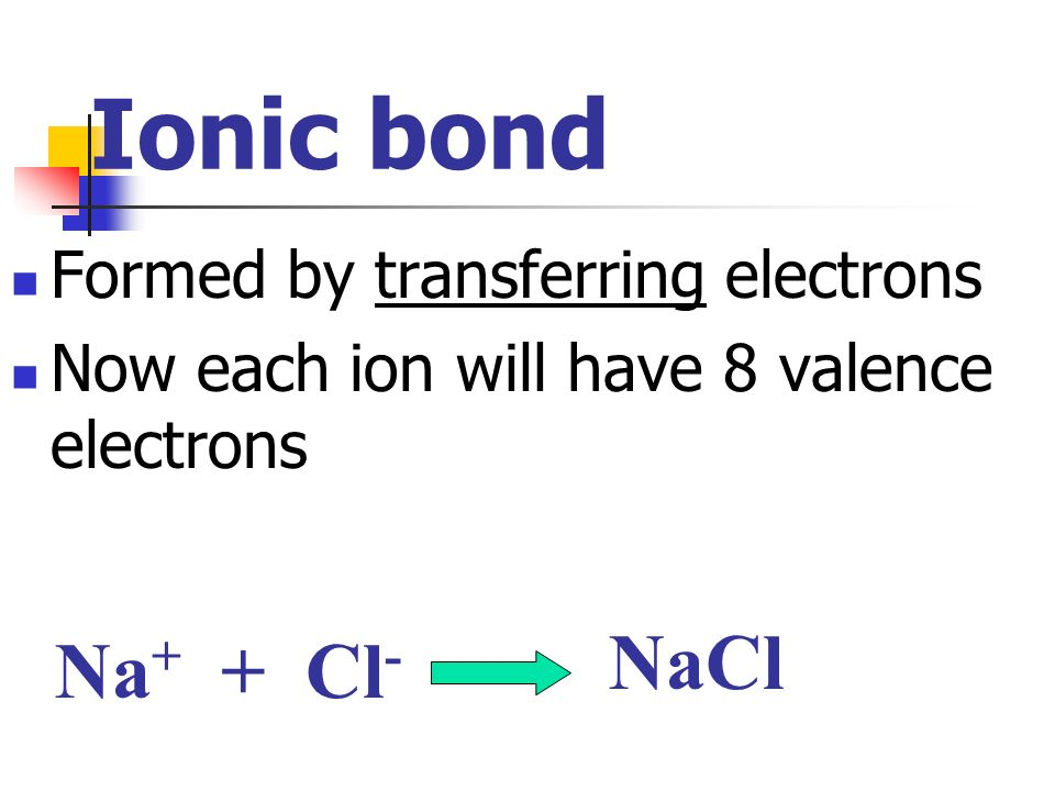 Ionic bond NaCl Na+ + Cl- Formed by transferring electrons