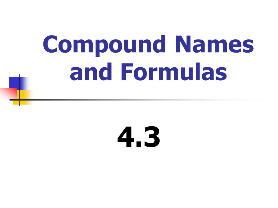 Compound Names and Formulas