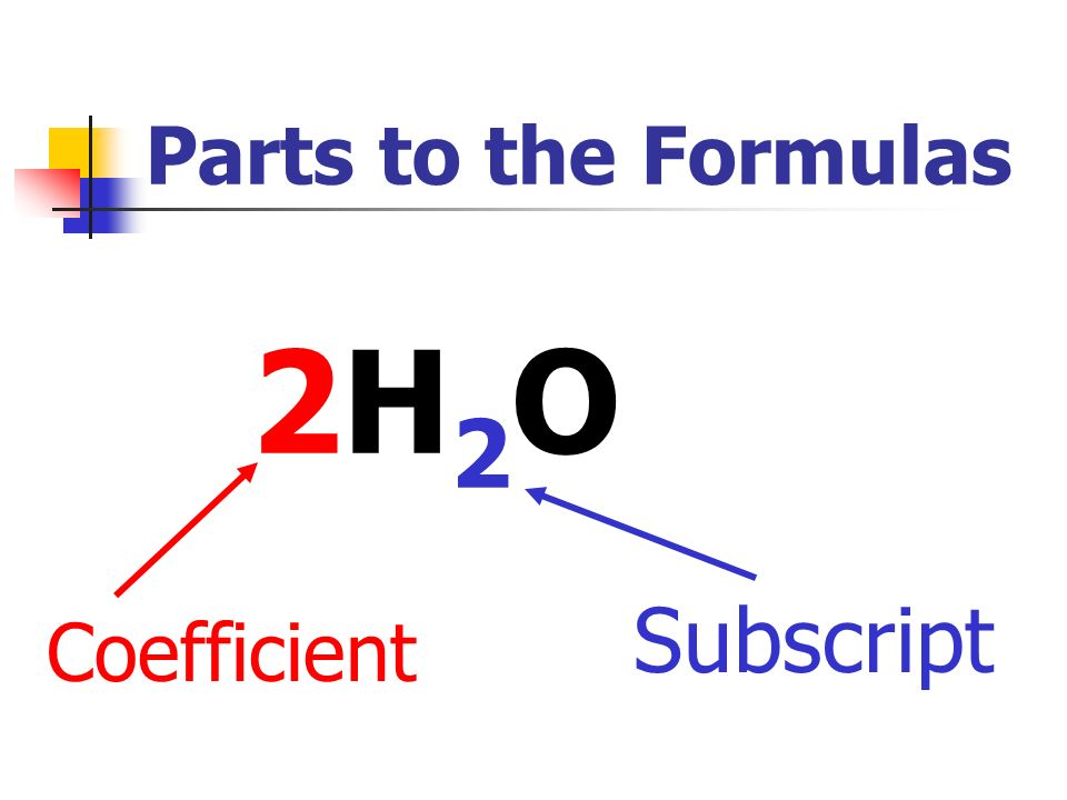 Parts to the Formulas 2H2O Subscript Coefficient
