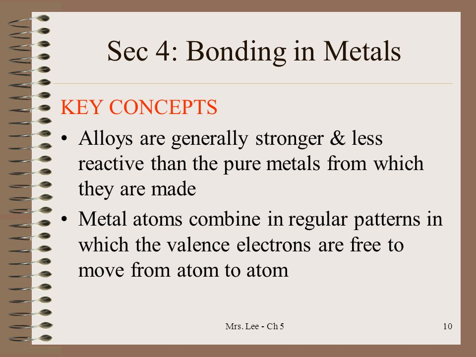 Sec 4: Bonding in Metals KEY CONCEPTS