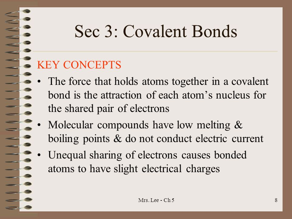 Sec 3: Covalent Bonds KEY CONCEPTS