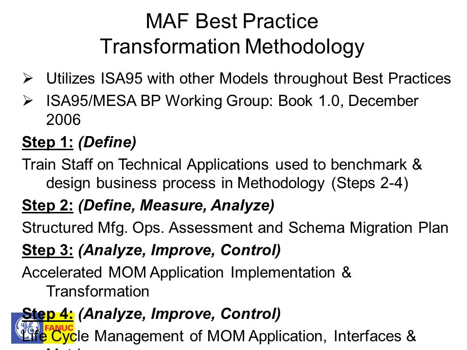 MAF Best Practice Transformation Methodology