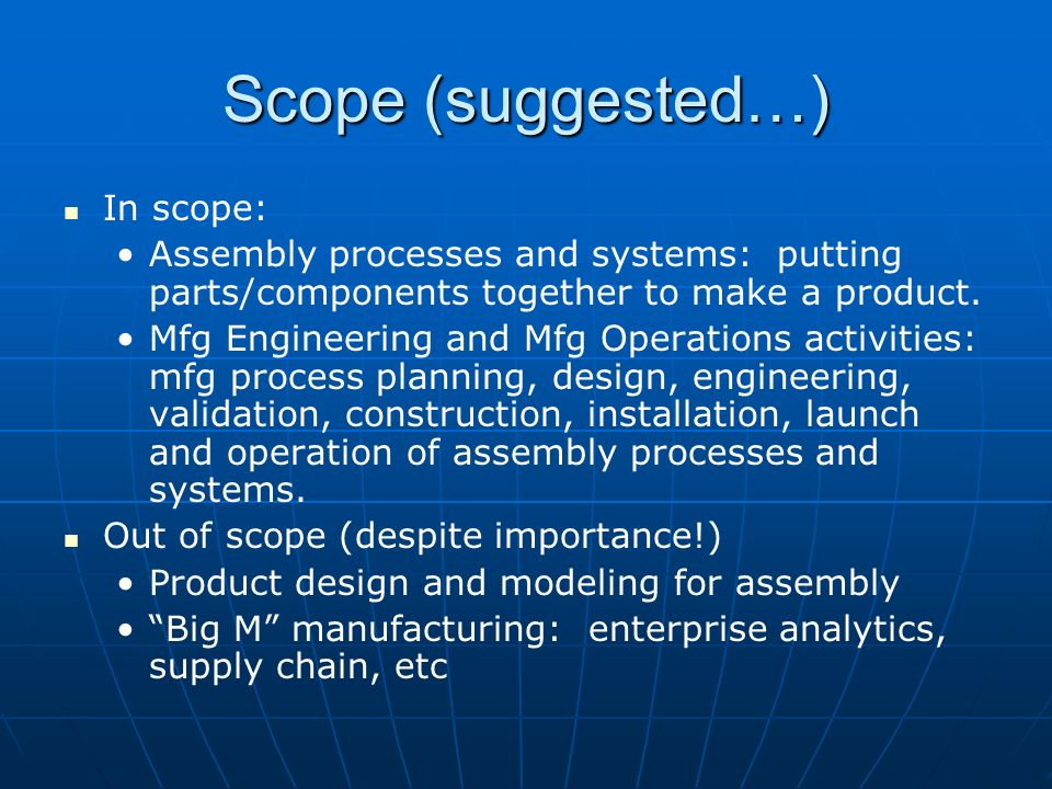 Scope (suggested…) In scope: