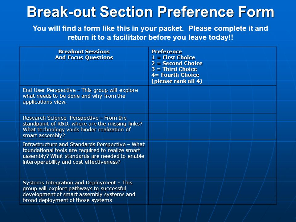 Break-out Section Preference Form