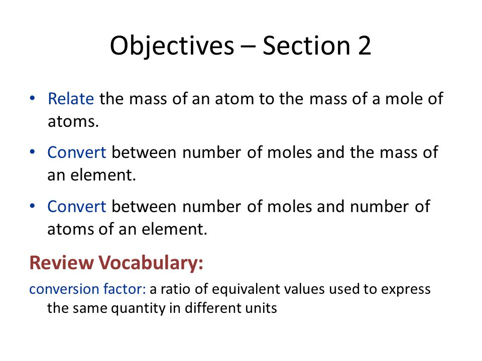 Objectives – Section 2 Review Vocabulary: