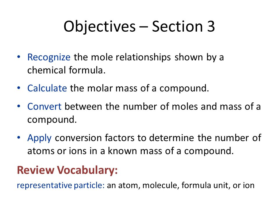 Objectives – Section 3 Review Vocabulary:
