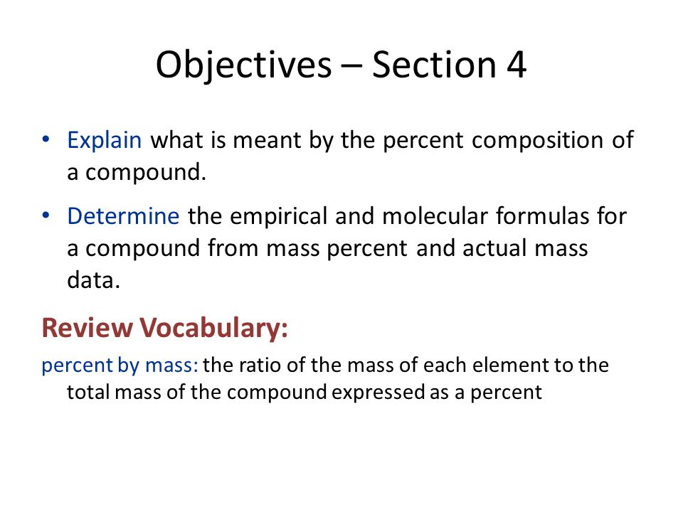 Objectives – Section 4 Review Vocabulary: