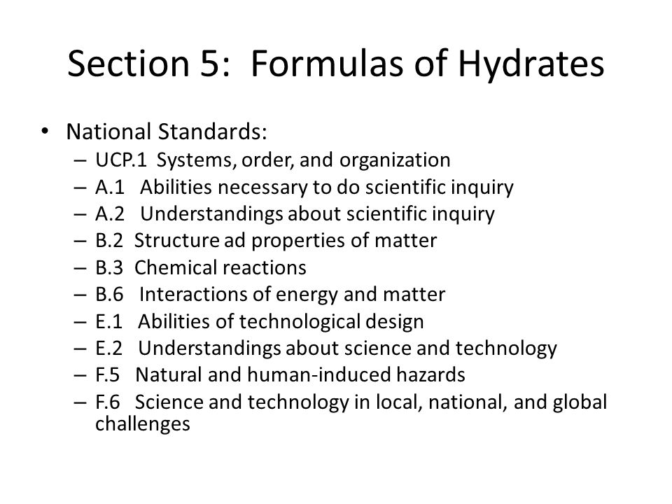 Section 5: Formulas of Hydrates