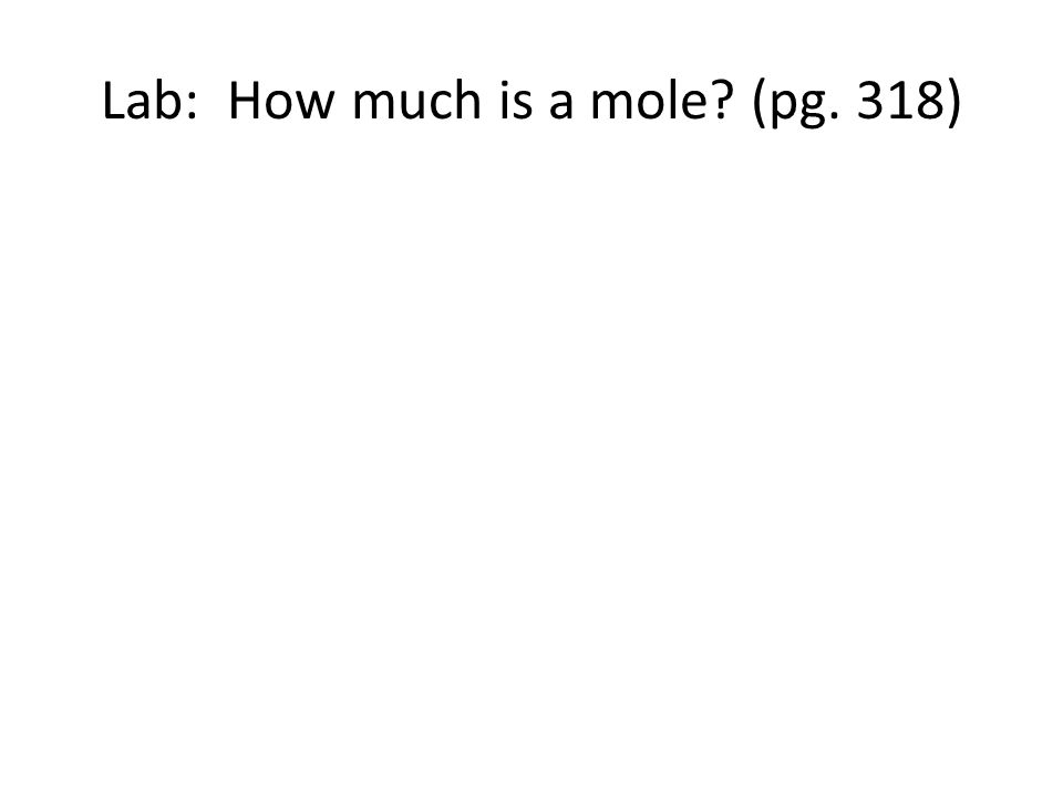 Lab: How much is a mole (pg. 318)