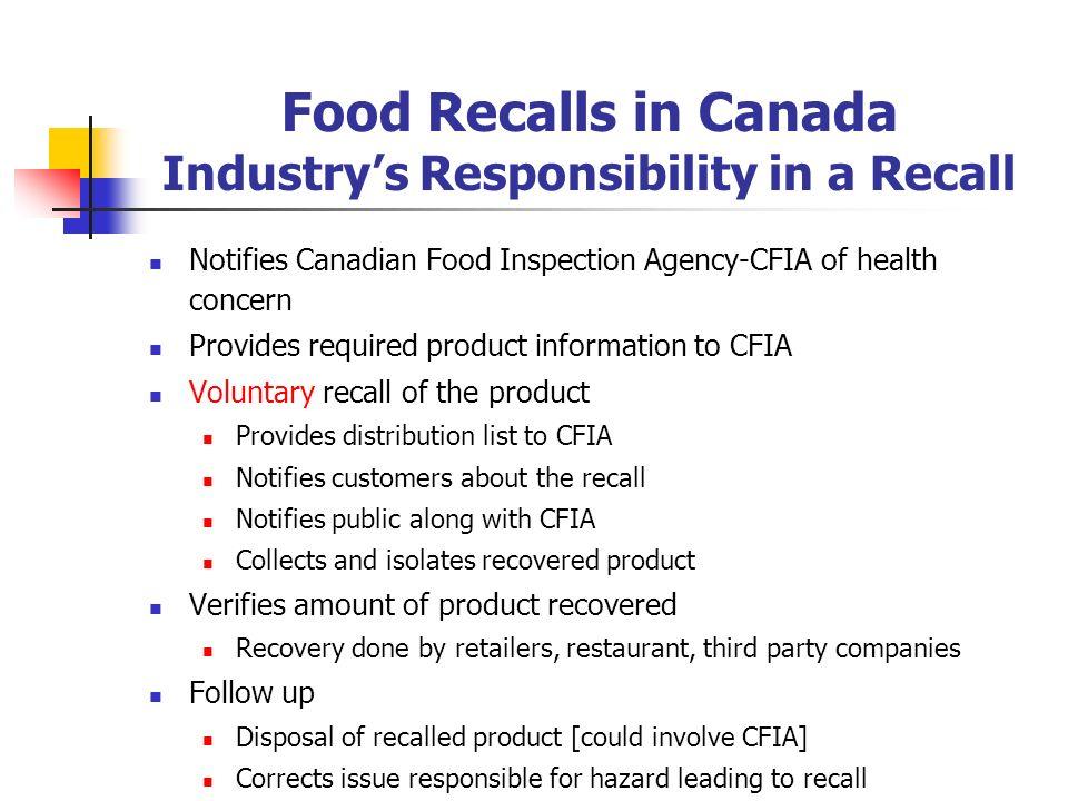 Food Recall Classification Health Canada