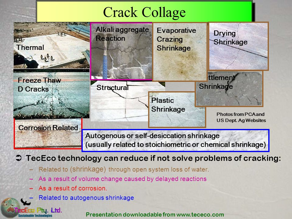 Crack Collage Alkali aggregate Reaction. Evaporative Crazing Shrinkage. Drying Shrinkage. Thermal.