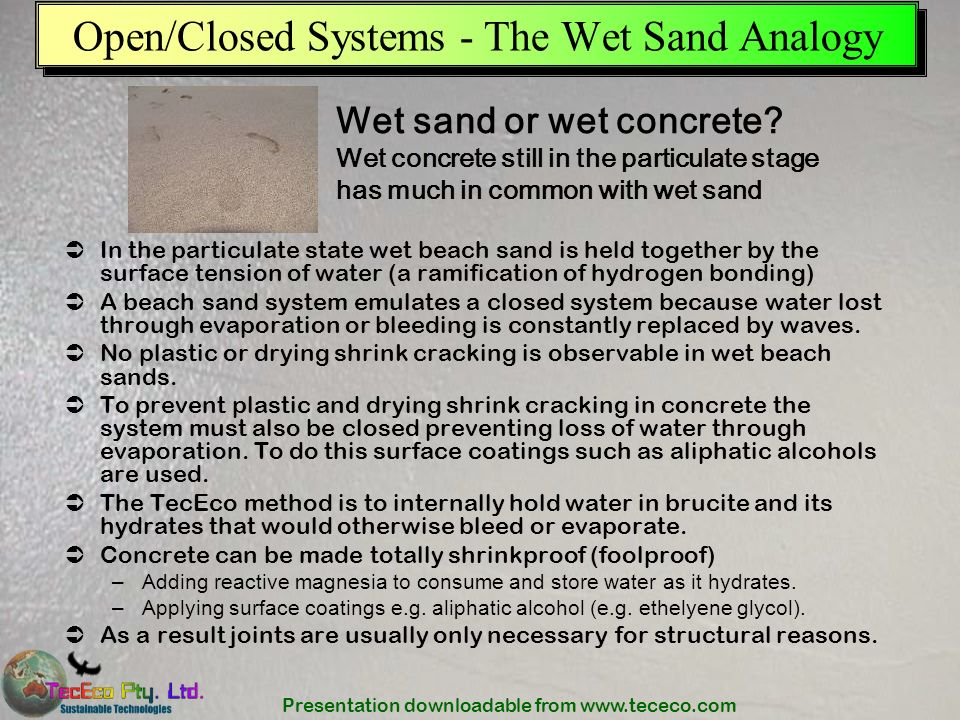 Open/Closed Systems - The Wet Sand Analogy
