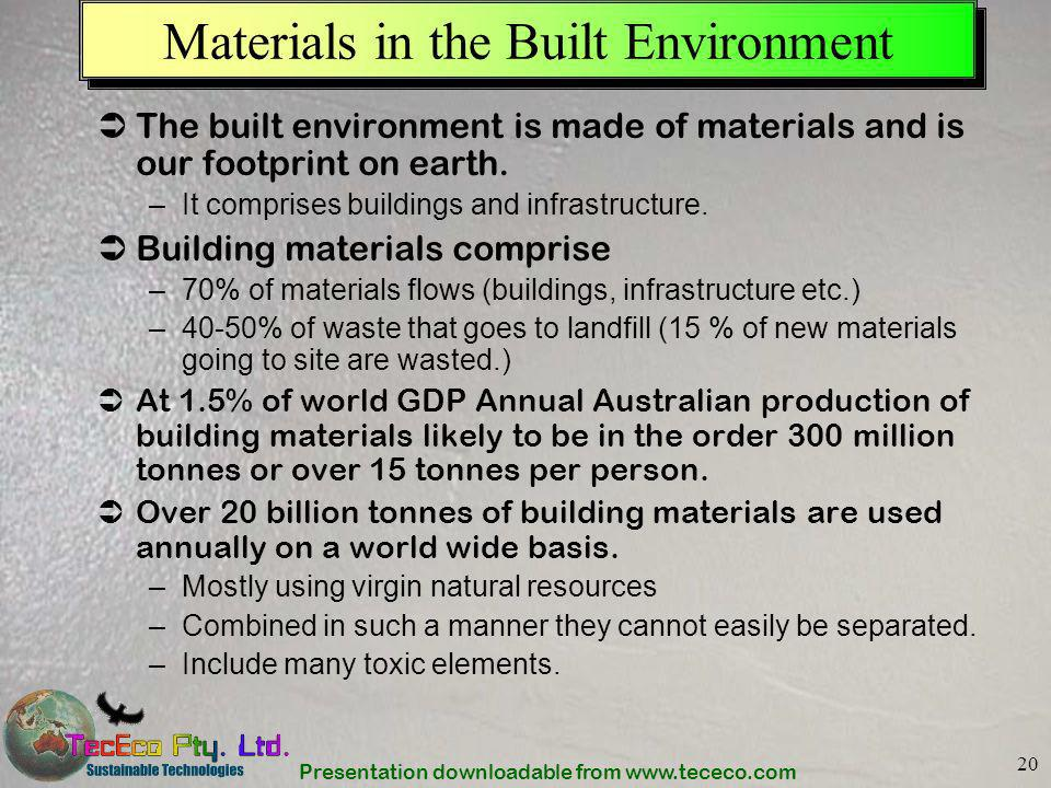 Materials in the Built Environment