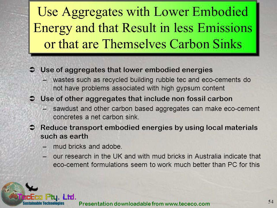 Use Aggregates with Lower Embodied Energy and that Result in less Emissions or that are Themselves Carbon Sinks