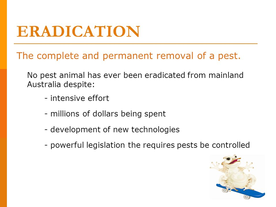 ERADICATION The complete and permanent removal of a pest.