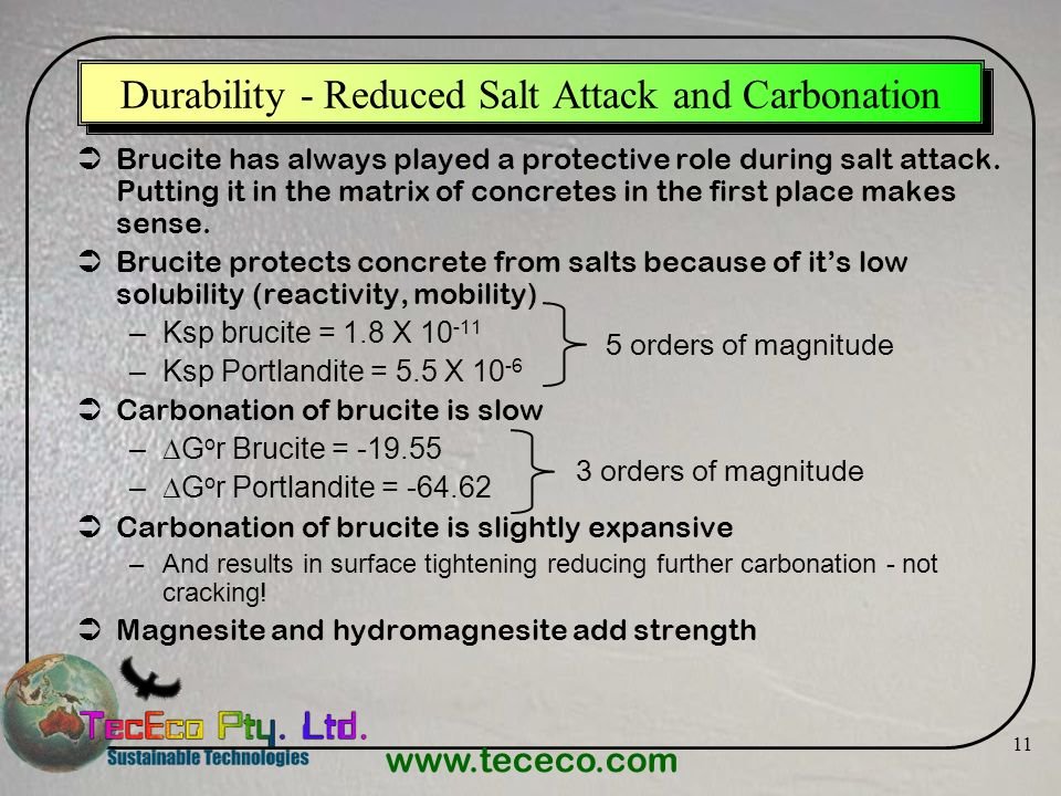Durability - Reduced Salt Attack and Carbonation