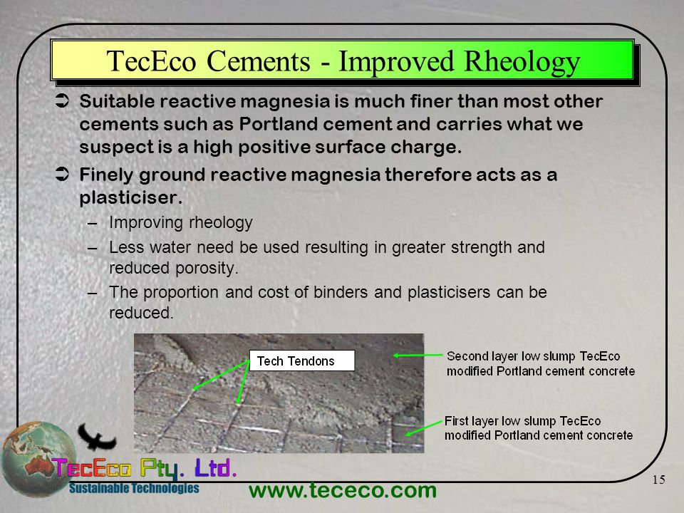 TecEco Cements - Improved Rheology