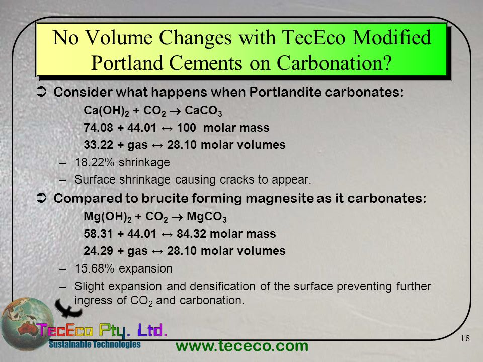 No Volume Changes with TecEco Modified Portland Cements on Carbonation