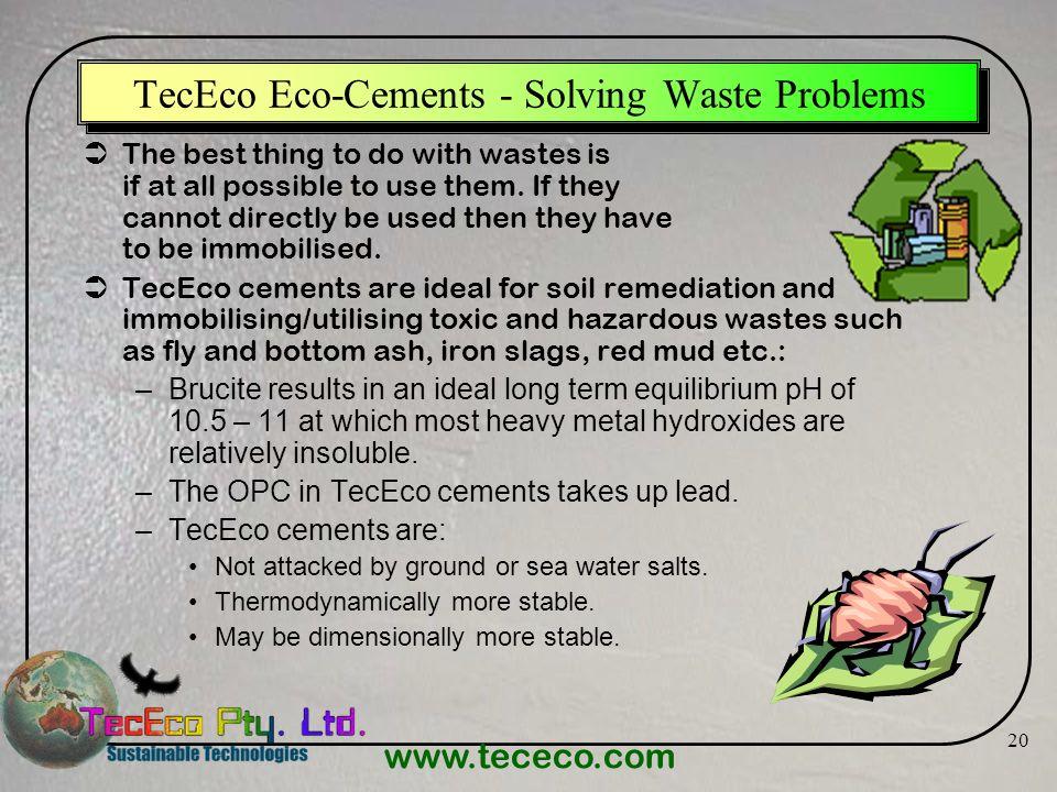 TecEco Eco-Cements - Solving Waste Problems