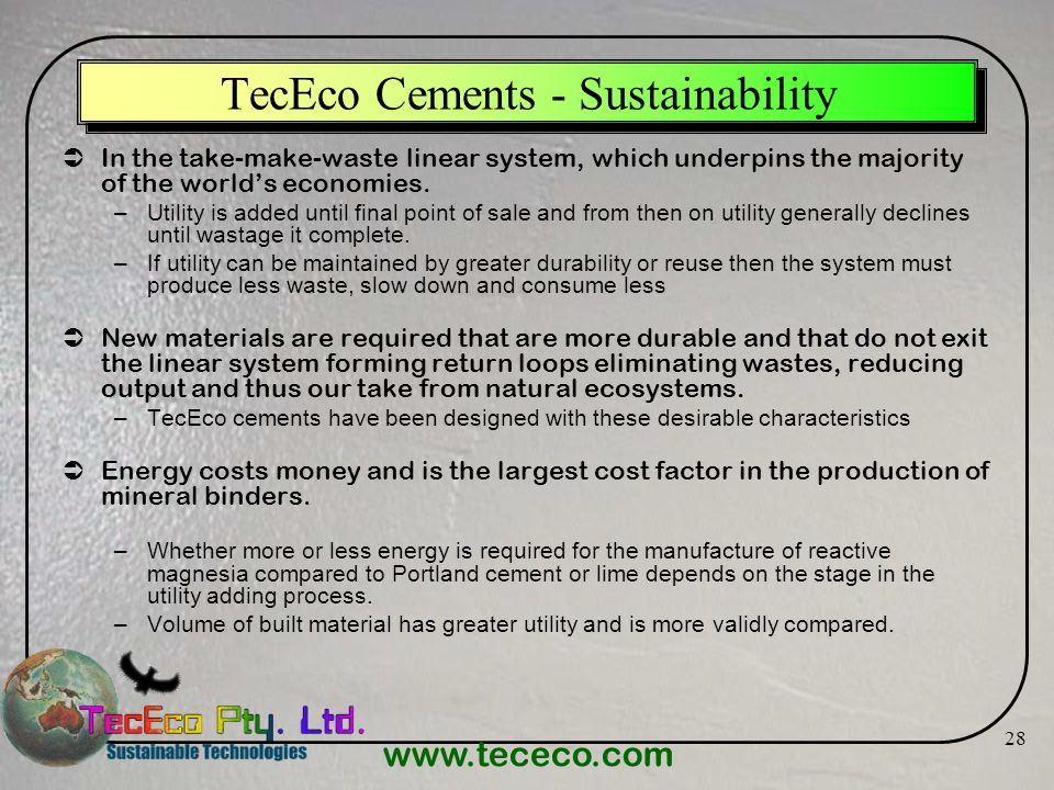 TecEco Cements - Sustainability