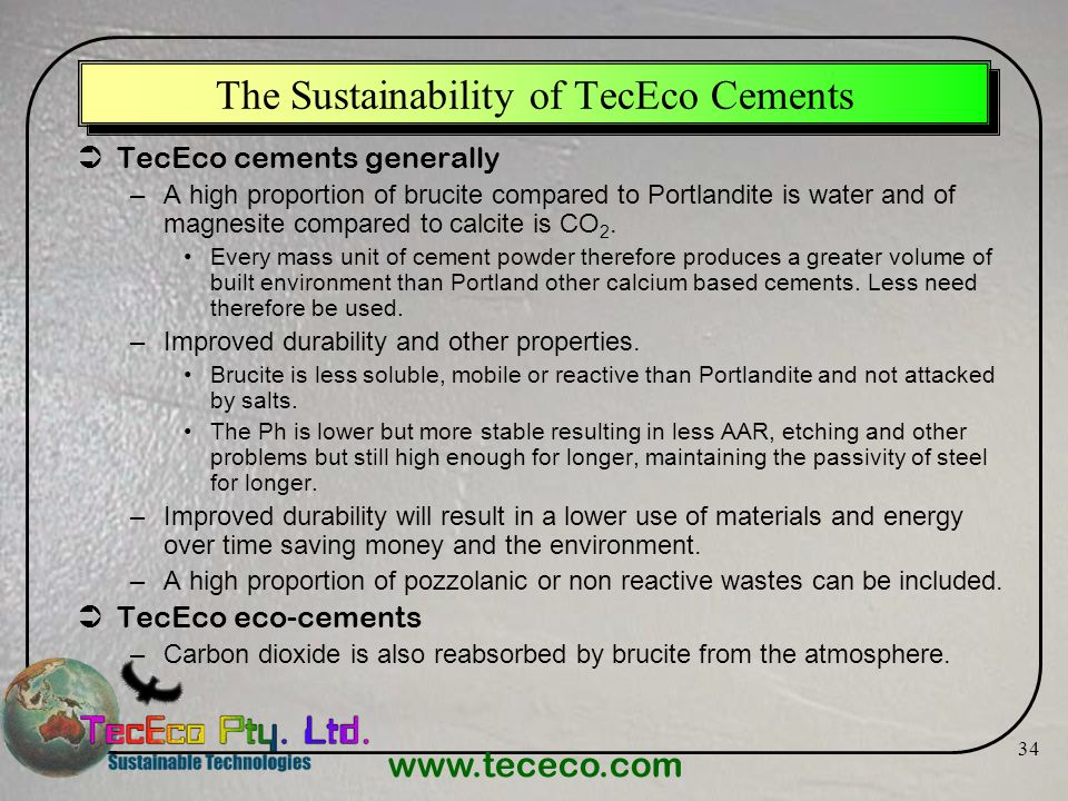 The Sustainability of TecEco Cements