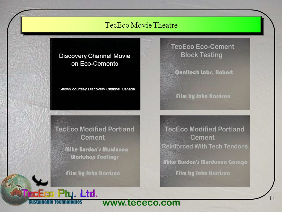 TecEco Movie Theatre Discovery Channel Movie on Eco-Cements