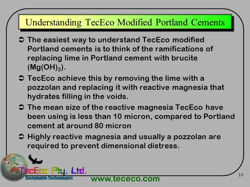 Understanding TecEco Modified Portland Cements
