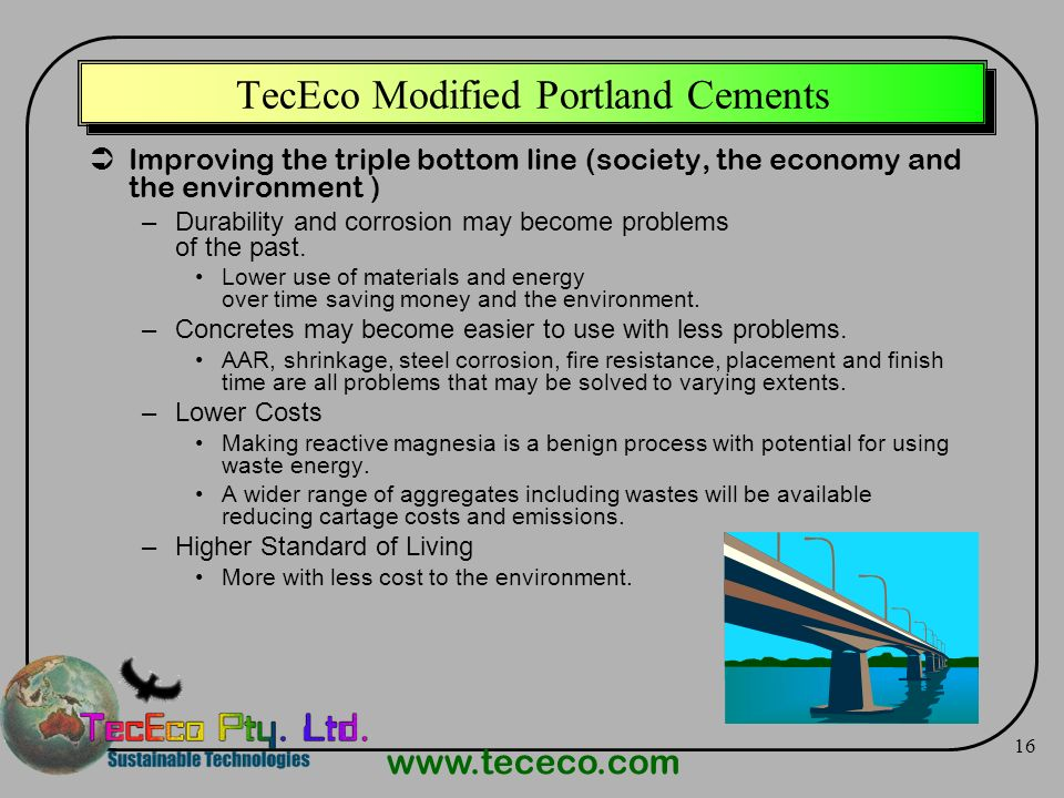 TecEco Modified Portland Cements
