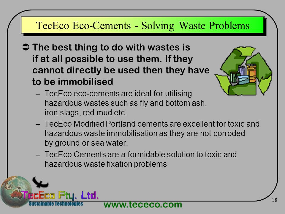 TecEco Eco-Cements - Solving Waste Problems