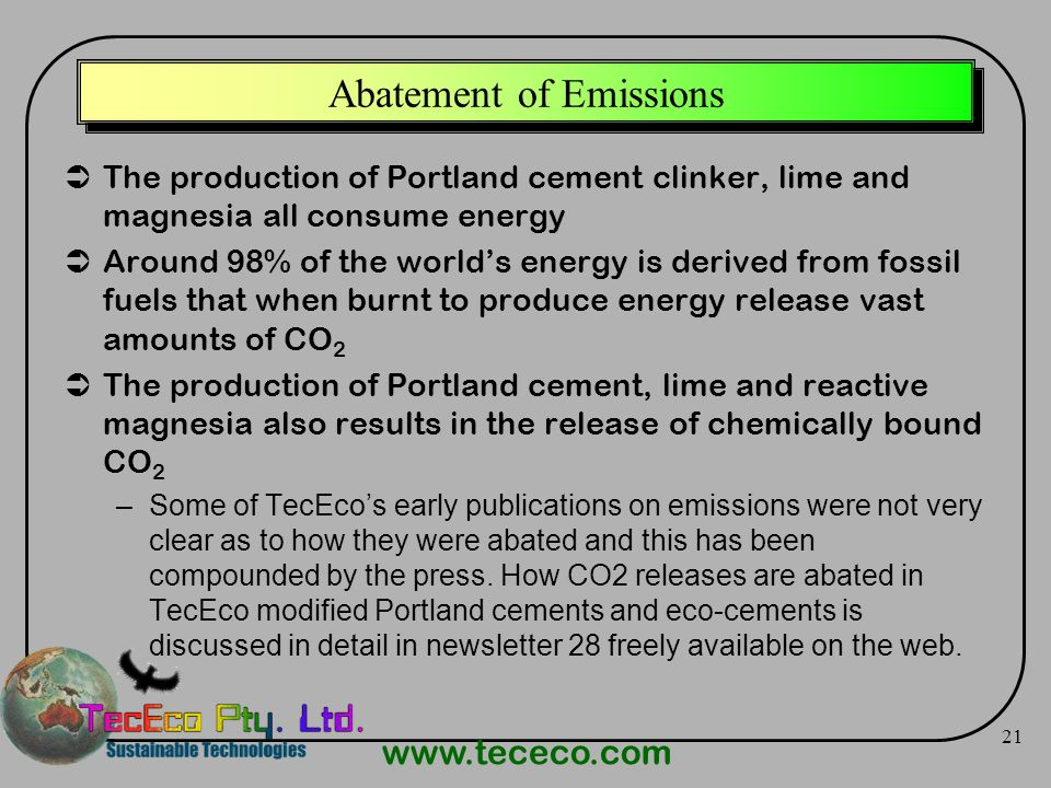 Abatement of Emissions