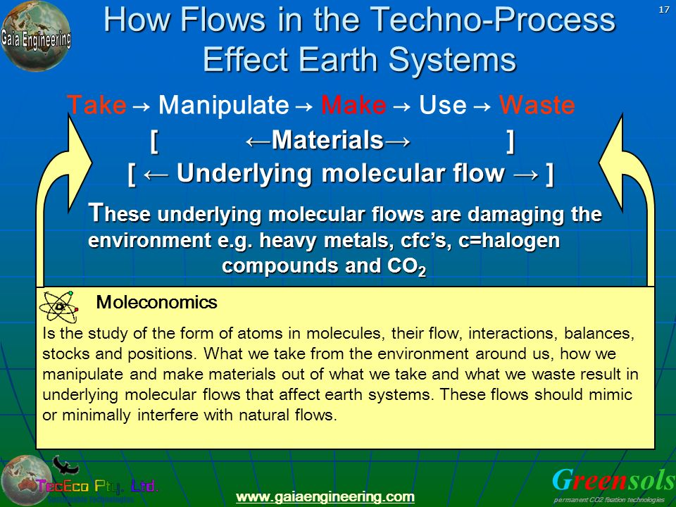 How Flows in the Techno-Process Effect Earth Systems