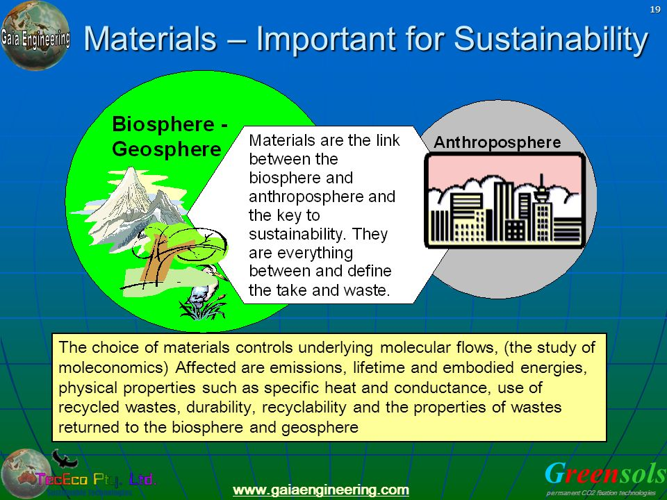 Materials – Important for Sustainability