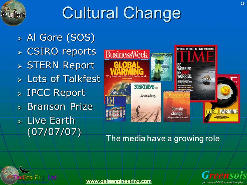 Cultural Change Al Gore (SOS) CSIRO reports STERN Report