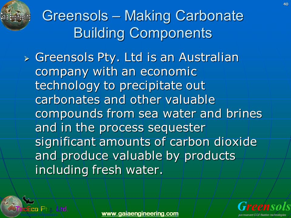 Greensols – Making Carbonate Building Components