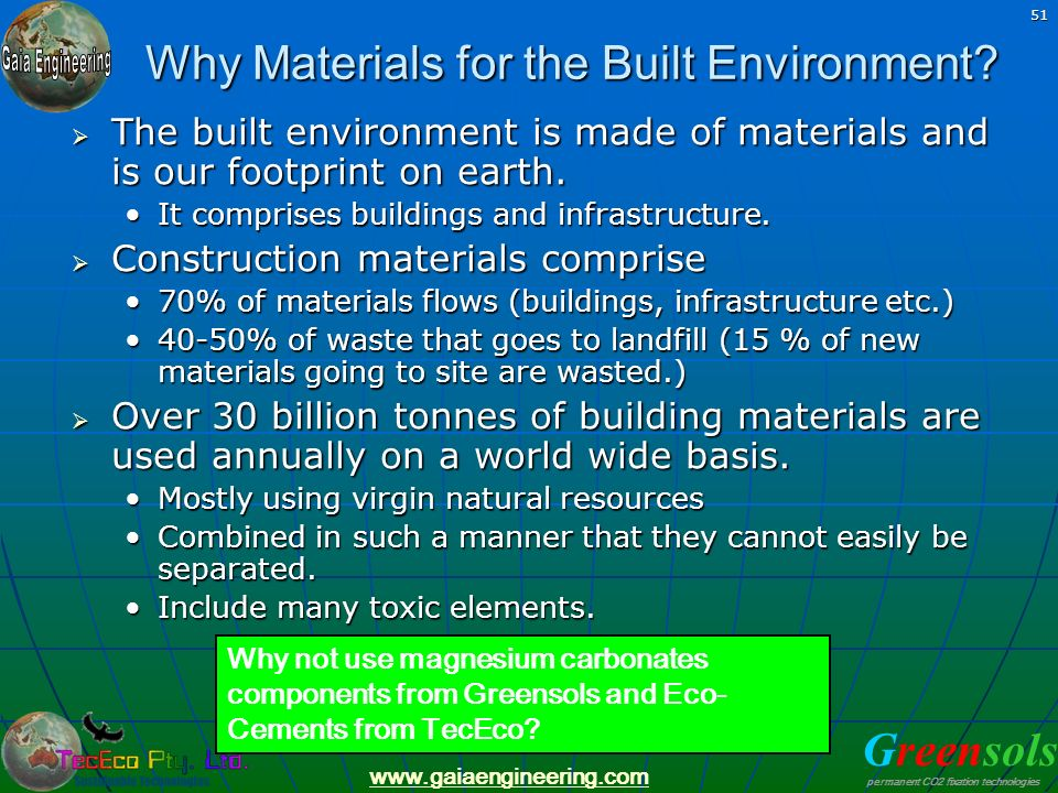 Why Materials for the Built Environment