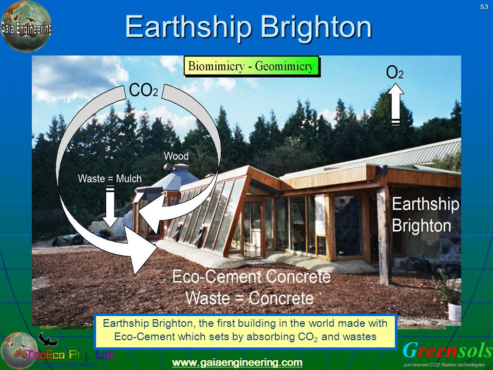 Earthship Brighton Earthship Brighton, the first building in the world made with Eco-Cement which sets by absorbing CO2 and wastes.