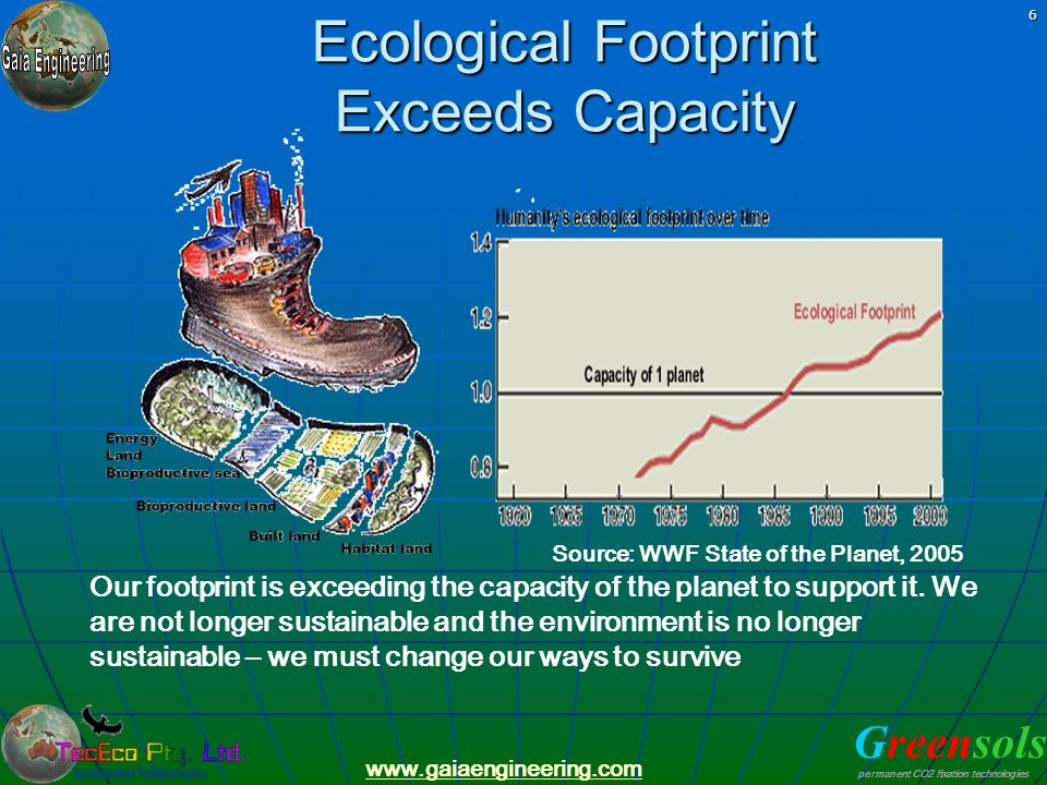 Ecological Footprint Exceeds Capacity