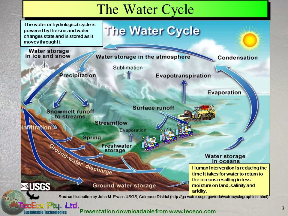 The Water Cycle The water or hydrological cycle is powered by the sun and water changes state and is stored as it moves through it.