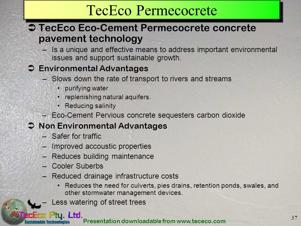TecEco Permecocrete TecEco Eco-Cement Permecocrete concrete pavement technology.