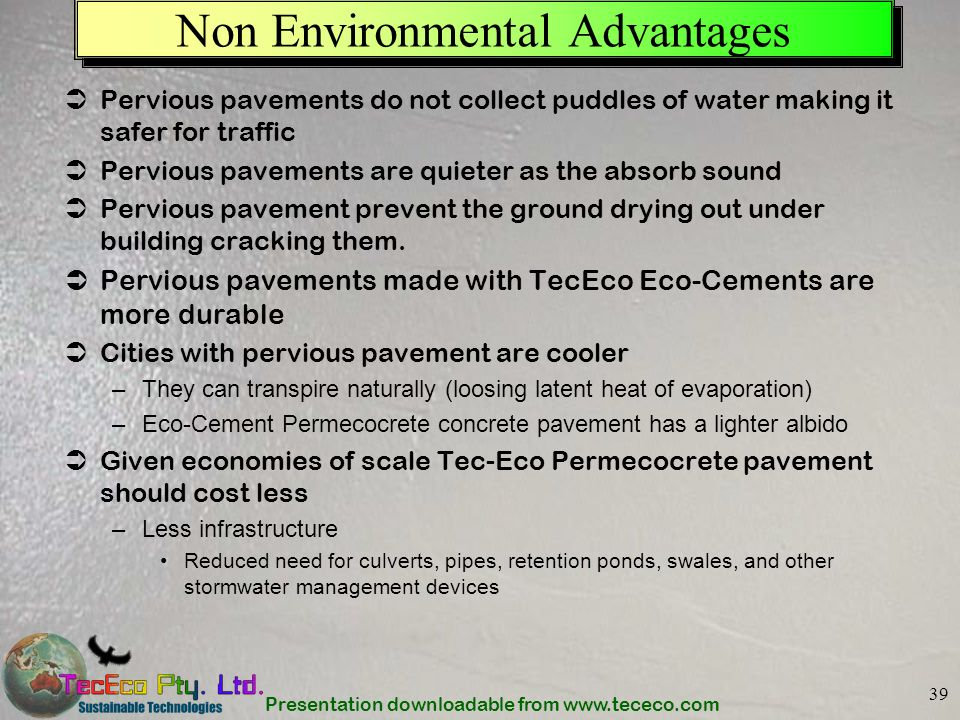 Non Environmental Advantages