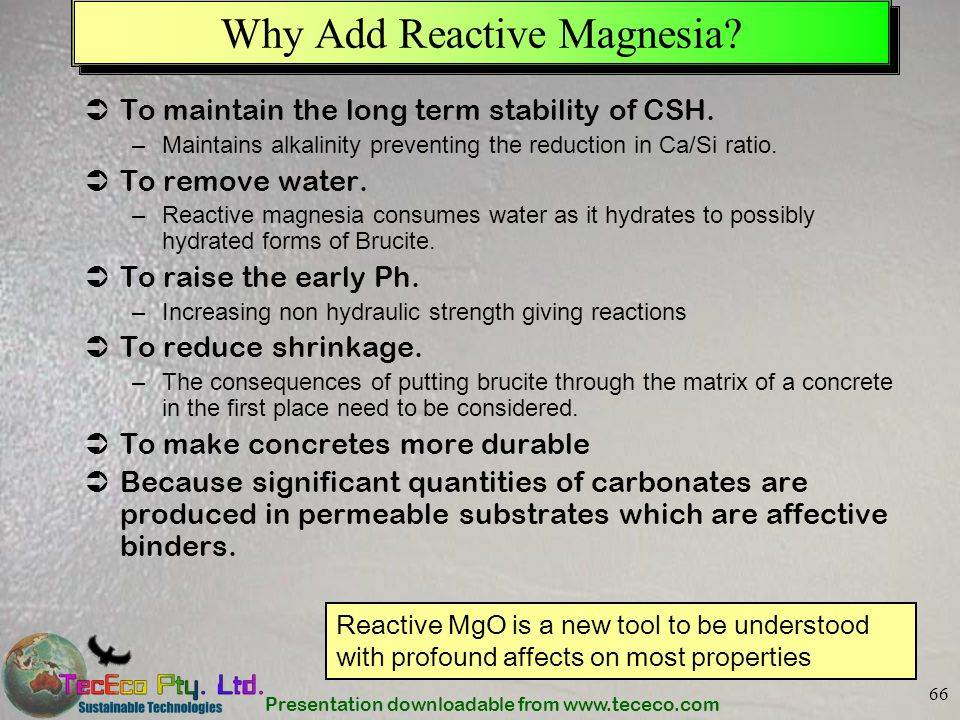 Why Add Reactive Magnesia