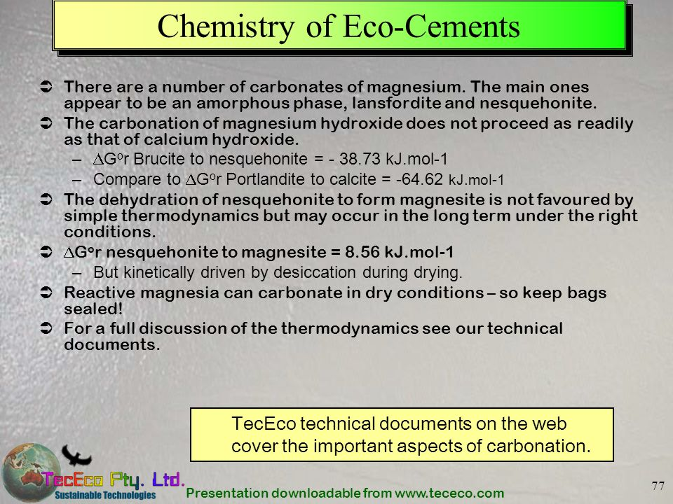 Chemistry of Eco-Cements