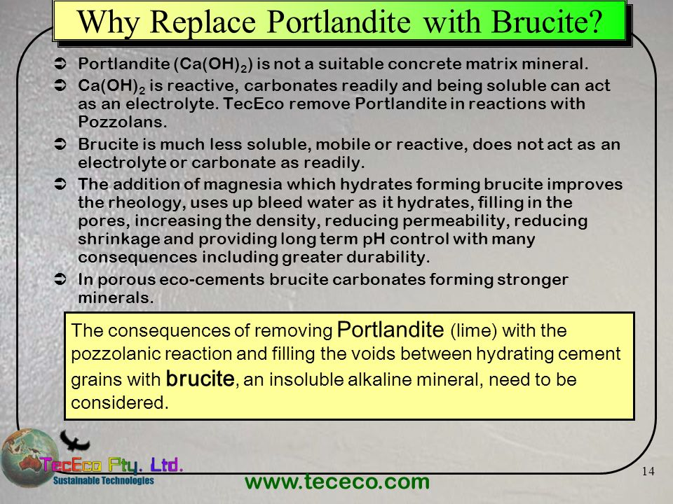 Why Replace Portlandite with Brucite