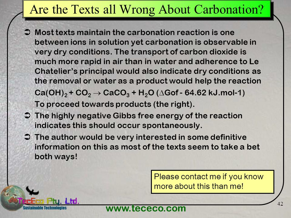 Are the Texts all Wrong About Carbonation